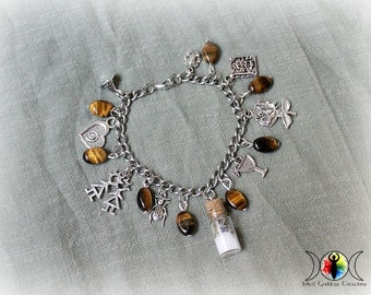 Practical Magic Inspired Chunky Charm Bracelet with Tiger's Eye