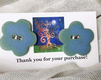 Ceramic Buttons - Flower Buttons - Blueberry Matt Blue Buttons