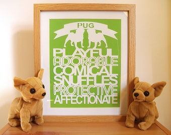 Pug Gift Paper Cut Art, Pug Print, Pug Lover Gift, Pug Art - Unframed - Choose Your Colours