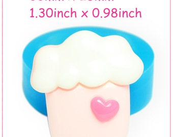 FYL108 Cream Cupcake House Silicone Mold with Heart Cake Decorating Craft Polymer Clay Candy Resin Wax