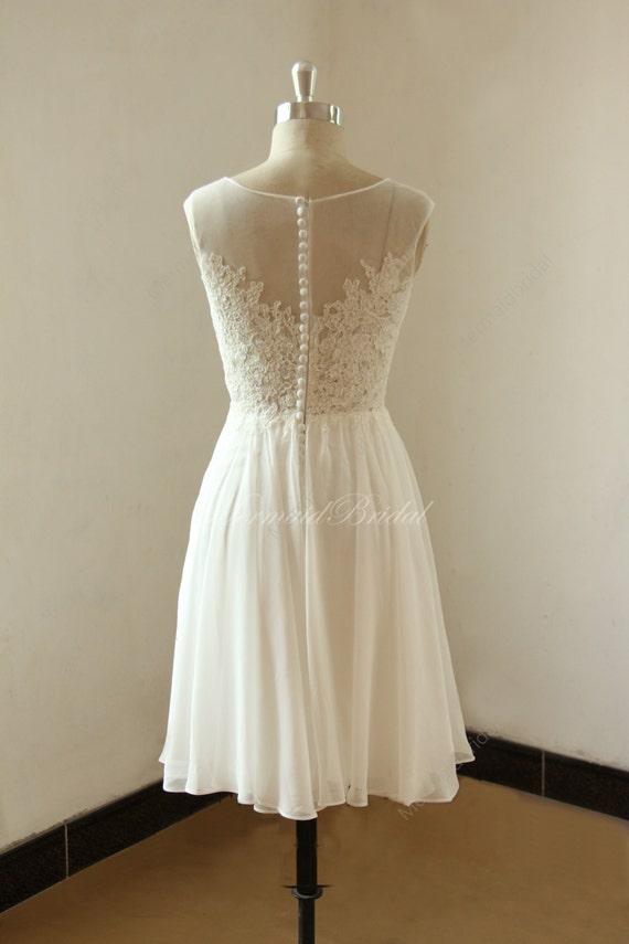 Ivory short knee length lace chiffon wedding by mermaidbridal for Ivory knee length wedding dresses