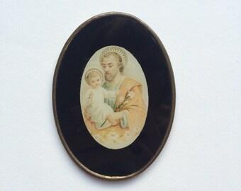 Little vintage antique enamel & glass Catholic religious icon picture souvenir - Saint Anthony of Padua / Lisbon, Jesus