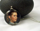 Princess Leia Glass Pendant Necklace with 24 Inch Chain