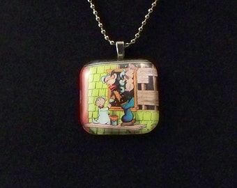 Popeye and Sweet Pea Glass Pendant Necklace