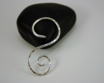 Silver Spiral Shawl Pin - Small Silver Brooch To Use As A Sweater Pin or Hat Pin - OnTheBend