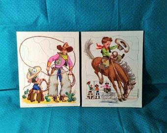Pair of Vintage Children's Puzzles - Western Coyboys