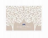 Guest Book Tree, Wedding Guest Book Alternative Poster with 215 Leaves, Modern Guest Book in Tan and Royal Blue