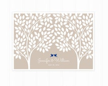 Guest Book Tree, Wedding Guest Book Poster with 215 Leaves, Modern Guest Book in Tan and Royal Blue