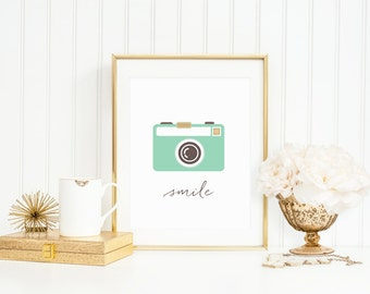 Camera Art Print, Smile Camera Print, Funny Art Print in Mint