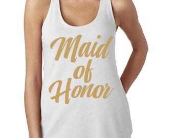 Maid of Honor Flowy Tank Top - MOH Tank Top - Metallic Gold Foil Lettering -  Racerback Tank - Item 1814