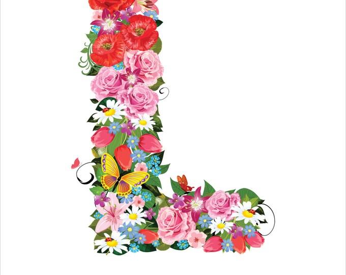 8 x 10 Floral Alphabet Letter | Print
