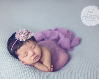 Shabby Chic Headband, Flower Headband, Purple Headband, Shabby Chic Flower, Headband, Baby Headband, Newborn Headband, Photography Prop