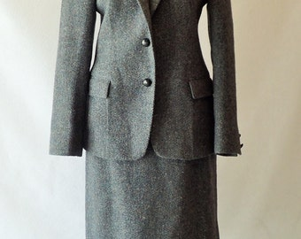 70's Gorgeous Womens AUGUSTUS - Vintage Wool Tweed Blue Lined Skirt Suit - Size 10 - Super Clean Secretary's Suit - Mod Business Attire