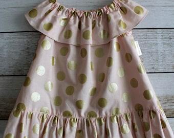 Pink and Gold Polka Dot Ruffle Dress - Various Sizes