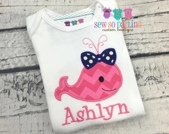 Baby Girl Whale Outfit - baby girl whale shirt - personalized baby shirt - Baby girl Nautical Shirt