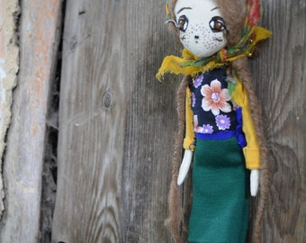 Cloth doll - Bunny toy - Handmade doll - Embroidered face - Exrime primitive - Eco-frendly - Recycling fabrics - Oddly Sweet Plush  OOAK