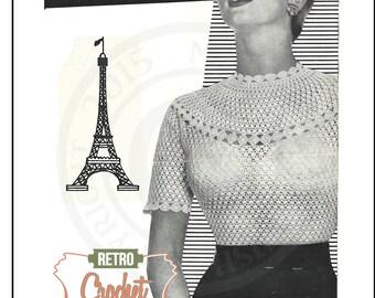 Crochet Blouse 1950s Vintage Pattern - PDF Crochet Pattern - Instant Download