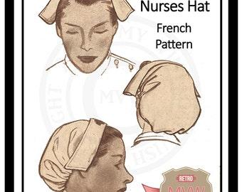 1950s Nurses Hat Sewing Pattern- PDF Instant Download
