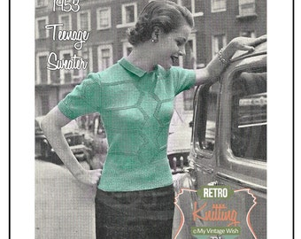 1950s Teenage Sweater -  Knitting Pattern - Instant Download