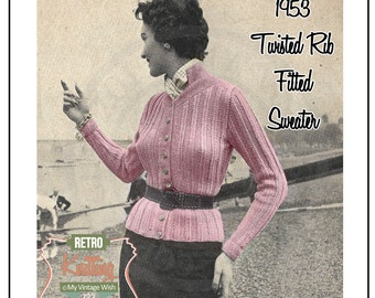 1950s Twisted Rib Sweater -  Knitting Pattern - Instant Download