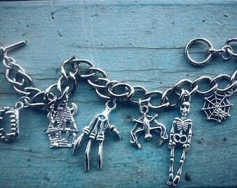 Halloween Charm Bracelet /// Tibetan Silver Charms /// Made to Order