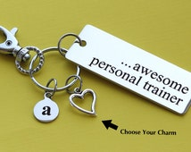 Personalized Personal Trainer Key Chain STAINLESS STEEL Customized with Your Charm & Initial