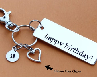 Personalized Happy Birthday Key Chain STAINLESS STEEL Customized with Your Charm & Initial