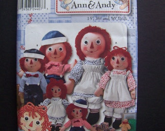 Classic Raggedy Ann & Andy Doll Pattern 3 Sizes