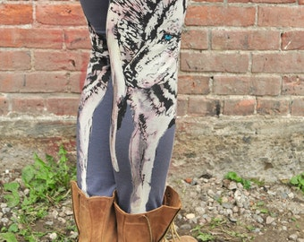 Grey Yoga Pants, Wolf Print, Hand Painted Print, Bamboo Terry Leggings, Steel Grey Leggings, High Waisted Leggings