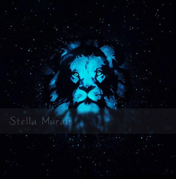 Glow In The Dark Mural Lion Self Adhesive Ceiling Decal