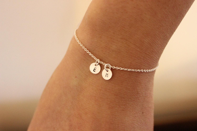 two intial bracelet tiny initials bracelet personalized. Black Bedroom Furniture Sets. Home Design Ideas