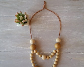 MARGARITA -  Double strand natural wooden bead necklace / chunky necklace