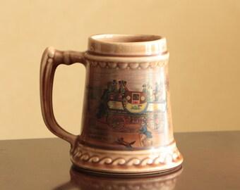 "Vintage McCoy ""Steam Coach"" ceramic beer mug / stein made in USA"