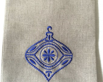Embroidered Tea Towel or Guest Towel Periwinkle Christmas Ornament