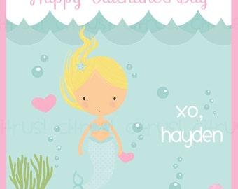 Mermaid Valentine's Day Card Kids Personalized Printable