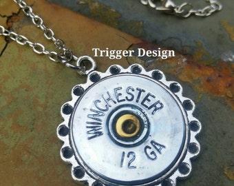 12 Gauge Shotgun Charm Necklace
