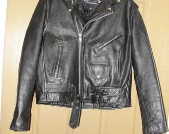 Vintage Black Leather Motorcycle / Biker Jacket MENS Size 46 long Large XL 1980s 1990s 80s 90s distressed XXl by Xelement