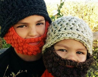 PATTERN Beard Beanie Crochet Hat