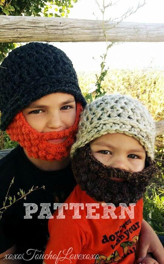 Crochet Beanie Beard Hat Pattern : PATTERN Beard Beanie Crochet Hat
