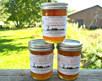 Citrus Marmalade Flavors Lot of 3 - Orange Marmalade - Lemon Marmalade - Grapefruit Marmalade - Homemade Marmalade - Hostess Gift -Food Gift