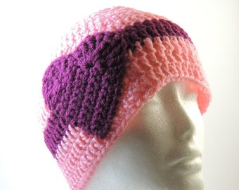 Banded with Love - Striped Heart Beanie - Various Sizes & Colors - Made-to-Order