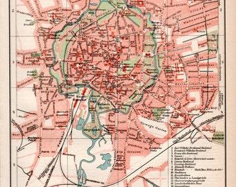 1898 Braunschweig Germany Old Map, Brunswick Karte, Niedersachsen, Deutschland, Lower Saxony, Hanover, German Lithograph, Antique Map