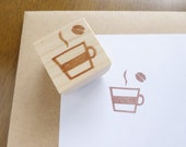 Lovely coffee stamp, Coffee lover, Cafe stamp, Coffee bean, Hot drink, Making card stamp, Decoration stamp, Art deco, Handmade stamp