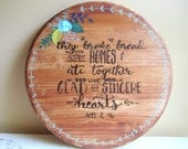 """18"""" Wood Burned Lazy Susan - Scripture Home Decor - Kitchen Table Centerpiece - Housewarming Gift - Glad and Sincere Hearts"""