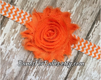 SALE Orange Shabby Chic Flower Chevron Headband, Girls Bright Orange Headband, Baby Hair Bow, Toddler Headband, Adult Headband, Accessory