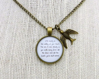 The Valley of Your Heart Handcrafted Pendant Necklace with Bird Charm