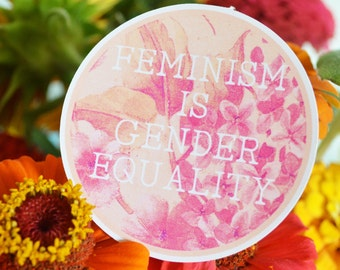 Feminism Is Gender Equality: Riot Grrrl Laptop Sticker or Recycled Sticker Sheet