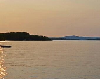 lake winnipesaukee row boat, new hampshire, sunset, new england, golden hour, golden, sunset print, sunset photography, sunset decor