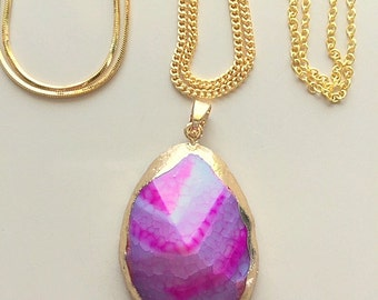 Dragon Vein Agate Pendant Necklace With 18K Gold Filled Chains - Rose Purple