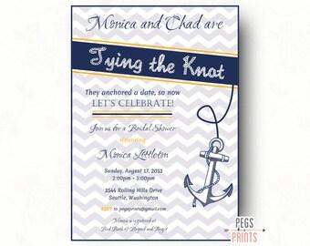 Nautical Bridal Shower Invite (Printable) Nautical Bridal Shower Invitation - Tying the Knot Invitation - Nautical Wedding Shower